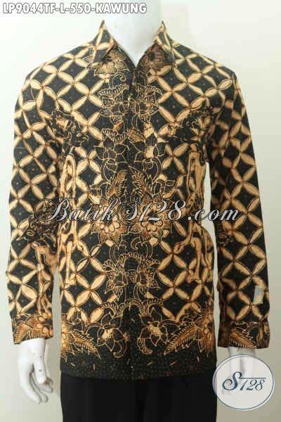 Kemeja Batik Kawung Grompol Printing Lengan Panjang toko baju batik premium sedia kemeja lengan