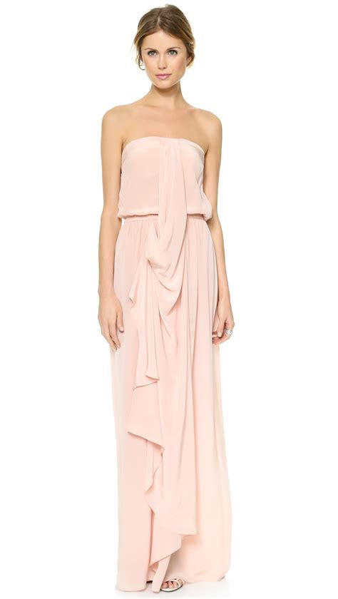 draped maxi dresses zimmermann strapless draped maxi dress in pink rosewater