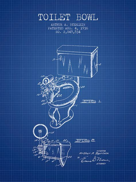 toilet bowl patent   blueprint digital art