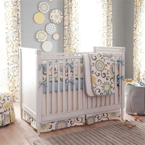 spa pom pon play 3 piece crib bedding set carousel designs