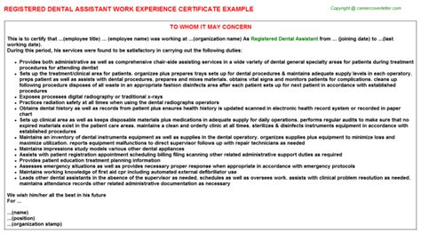 Letter For Work Experience In Dentistry Registered Dental Assistant Work Experience Certificate
