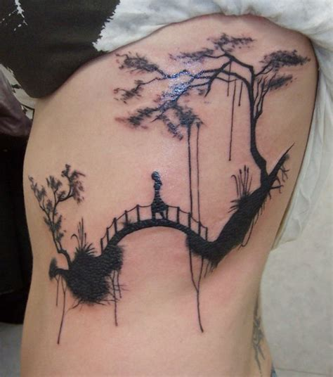 cross the bridge blackwork tattoo best tattoo ideas gallery