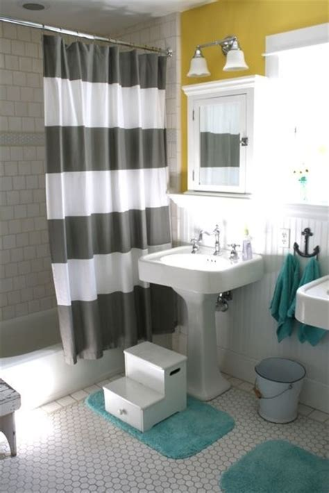 unisex kids bathroom ideas teal and white with pops of yellow bathroom update