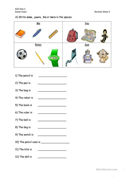 possessive pronouns worksheet free esl printable