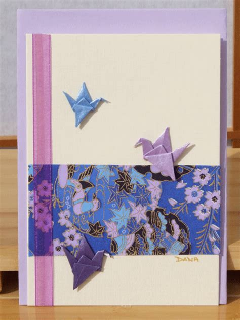 Greetings card Handmade three origami cranes in blue