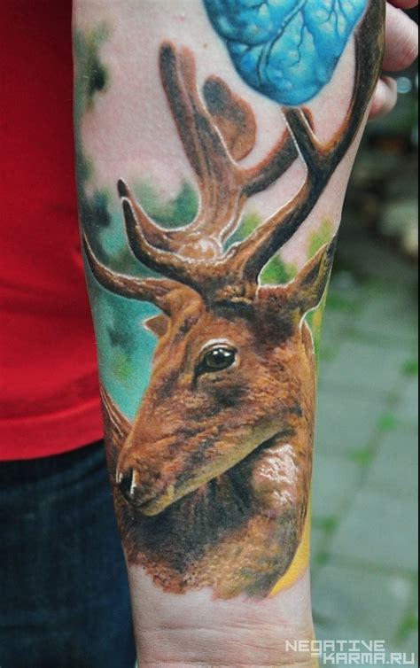 tattoo ink contains animal beautiful deer head animal color ink tattoo cool tattoos
