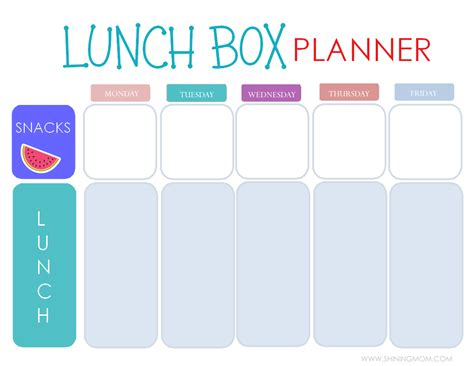 lunch box planner printable free printable easy 5 day lunchbox planner lunch box