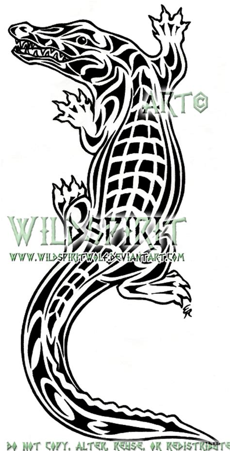 tribal crocodile tattoo tribal crocodile by wildspiritwolf on deviantart