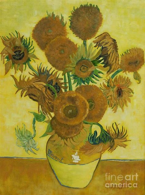 Vase With Fifteen Sunflowers by Vase Withfifteen Sunflowers Painting By Bob Williams