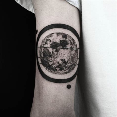 planet tattoos designs black ring dotwork planet on arm best