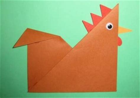 Origami Chicken Easy - paper chicken craft for crafts and worksheets for