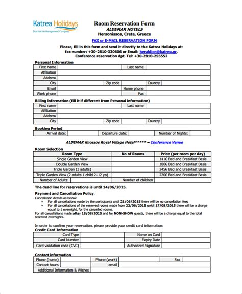 accommodation booking form template sle reservation form 9 documents in pdf