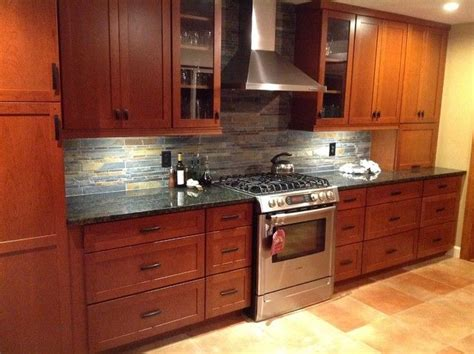 kitchen remodel cherry cabinets slate backsplash