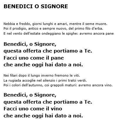 benedici o signore testo eleno testi canzoni 171 parrocchia di san lorenzo da brindisi