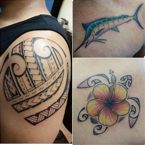 mid pacific tattoo polynesian tribal hibiscus honu marlin by ryson yelp
