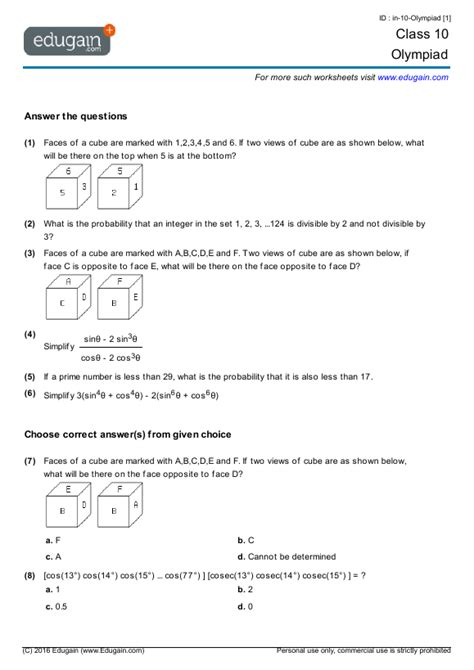 10 Grade Geometry Worksheets by 10th Grade Math Problems Boxfirepress