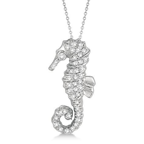 seahorse pendant necklace 14k white gold 0 29ct