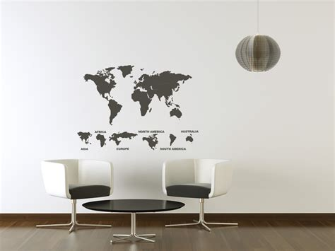 wall sticker world world map with continents wall stickers wall decal