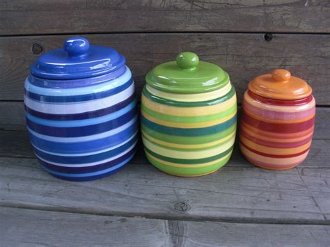 colorful kitchen canisters custom set of 3 kitchen canisters pick your colors and