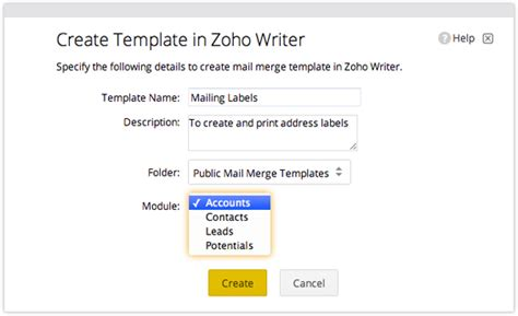 mail merge template