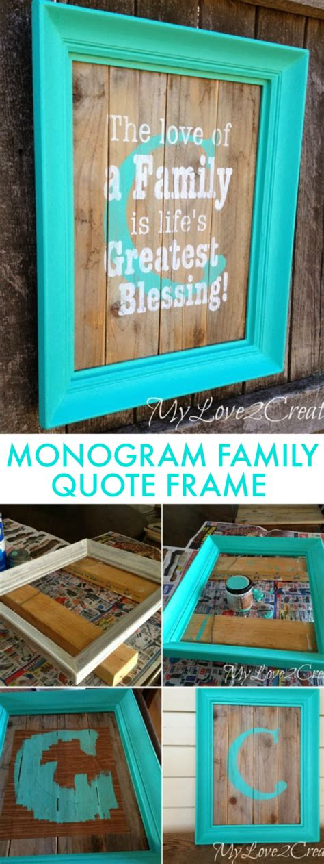 monogram diy projects diy monogram frame with family quote oh my creative