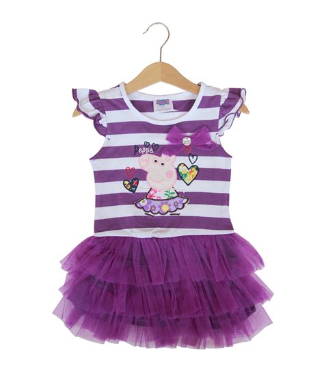 Dress Lengan Cut Out peppa tutu stripe dress purple kicau kecil