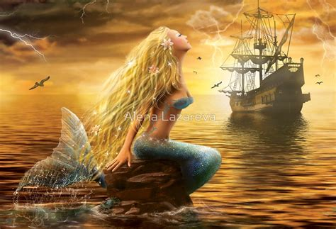 Dream Home Decor by Quot Beautiful Fantasy Sea Mermaid With Ship At Sunset