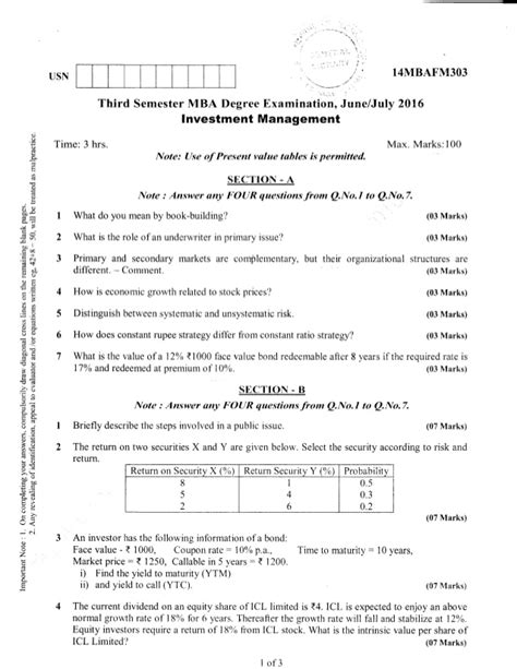 Mba 2nd Sem Previous Question Papers Ou by 3rd Semester Mba Jun 2016 Question Papers