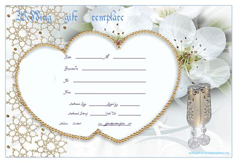 pearl heart wedding gift certificate template