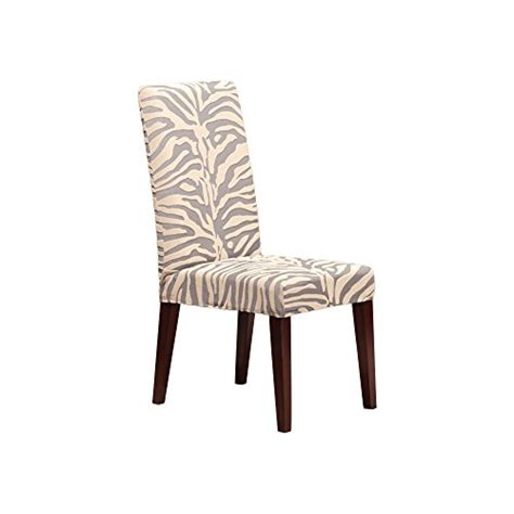 Zebra Dining Chair Covers Sure Fit Velvet Textured Zebra Stripes Dining Room Chair Cover Metal Gray Walnut Furniture