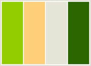 colors that go well with green colorcombo7 with hex colors 92cd00 ffcf79 e5e4d7 2c6700