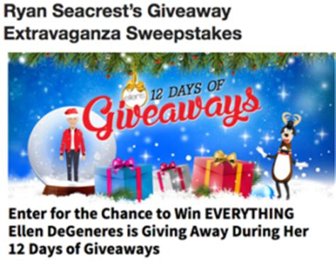 Ellen Degeneres 12 Days Of Giveaways Contest - ryan seacrest giveaway extravaganza win everything giveawayus com