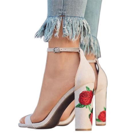 2017 fashion printed flower high heel sandals summer shoes alex nld