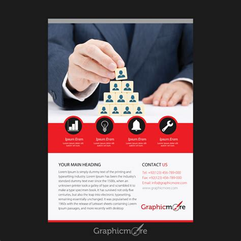leaflet design psd file business red flyer design free psd file by graphicmore
