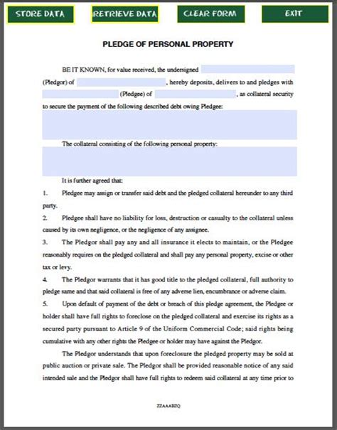 bailment agreement template pledge of personal property contract template forms