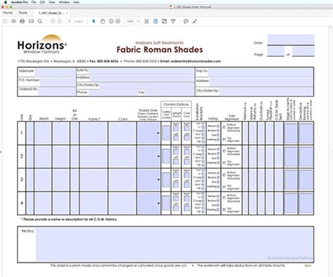 Where To Order Blinds Fillable Order Forms