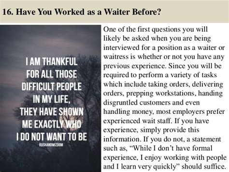 92 waiter questions and answers