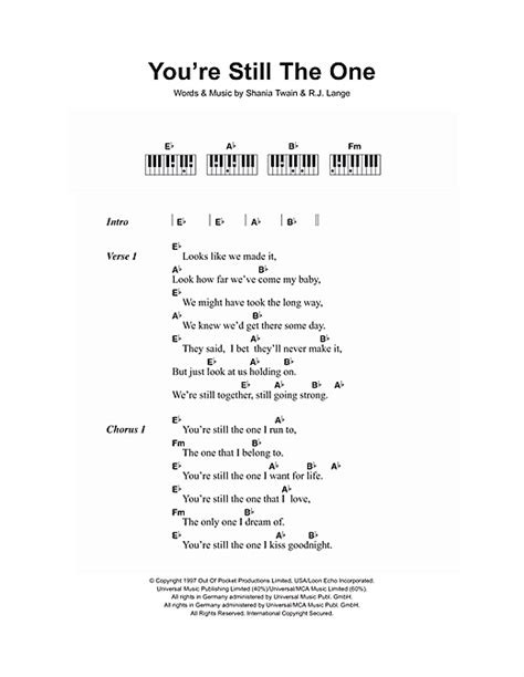 theme song you re still the one you re still the one sheet music by shania twain lyrics