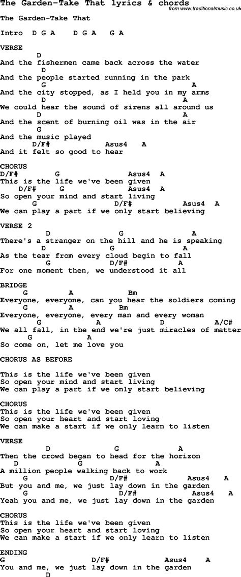 In The Garden Lyrics And Chords by Song Lyrics For The Garden Take That With Chords