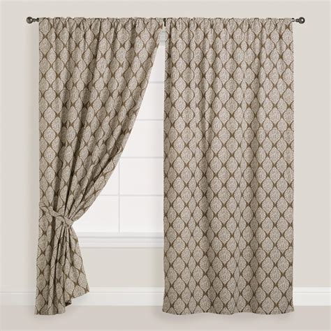 Concealed Tab Curtains Taupe Ivory Bhuti Print Concealed Tab Top Curtain Set Of 2 World Market