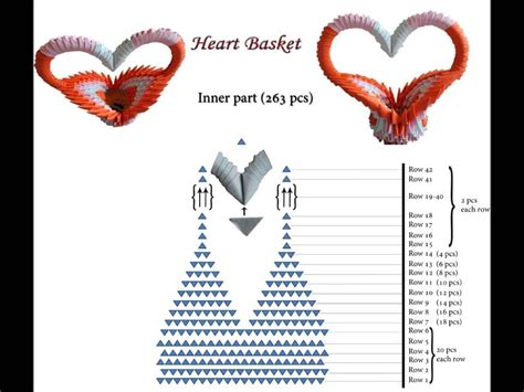 instructions 3d origami basket 3d origami heart basket schematics youtube