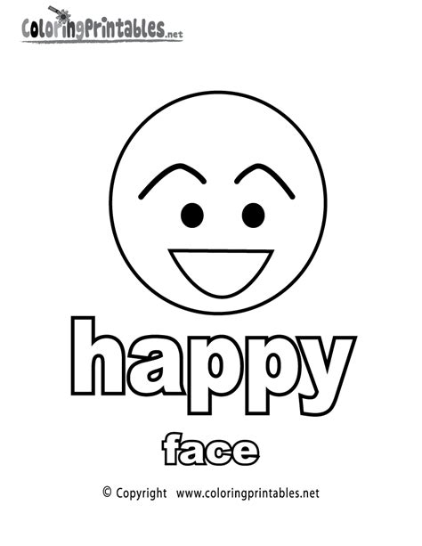 Adjectives Happy Face Coloring Page A Free English Happy Coloring Page