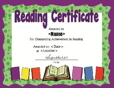 reading certificate template reading award certificate template pictures to pin on