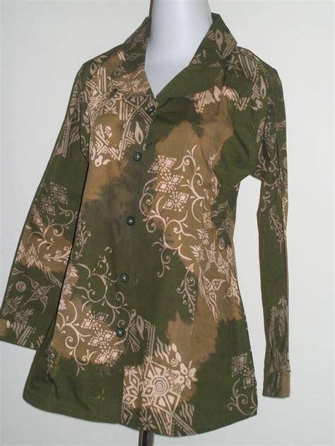 Kemeja Katun Wanita Batik Ruffles Unik Lengan Panjang Bpa24 motif seragam batik lengan panjang bahan katun halus