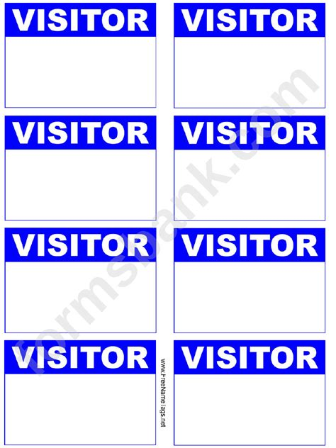 Visitor Badge Blue Name Tag Template Printable Pdf Download Visitor Badge Template