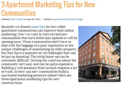 Apartment Marketing Tips Effective Marketing Promotes New Apartments In