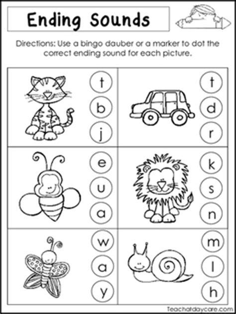 kindergarten activities ending sounds 10 ending sounds worksheets preschool and kindergarten