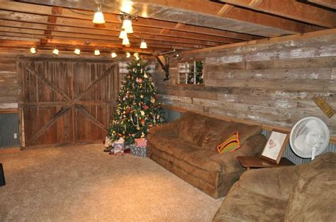 rustic finished basement barn wood tin and an garage door in our