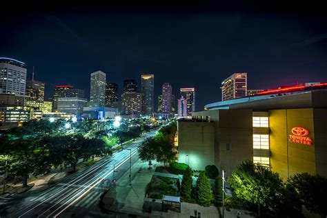 Houston Toyota Center Toyota Center And Downtown Houston Photograph By David