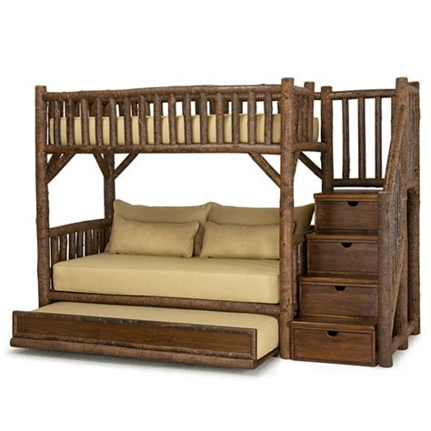 wooden bunk bed with trundle rustic bunk bed with trundle and stairs la lune collection
